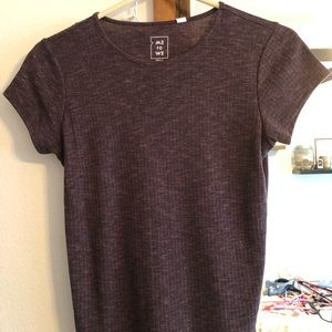 Purple fitted, slightly cropped short sleeve